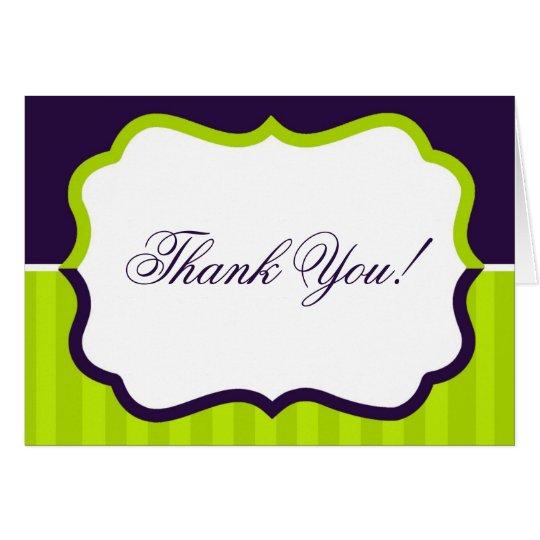 Folded Thank you Card Lime Green & Purple Stripe