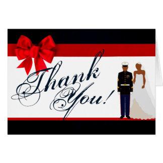 Folded Thank You Card Marine African Ameri Uniform