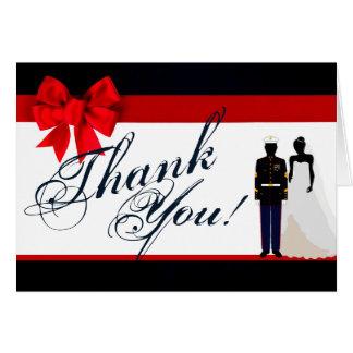 Folded Thank You Card Marine Uniform Groom Bride