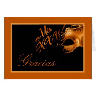 Folded Thank you Card Mis XV Orange Black