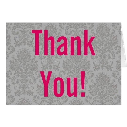 Folded Thank You Card Modern Gray Damask Lace Prin