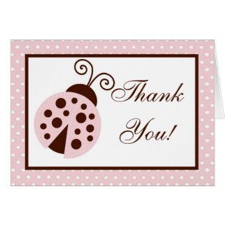 Folded Thank you Card Pink Ladybug