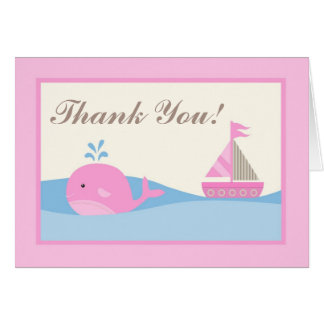 Folded Thank you Card Pink Naut Sail Boat Whale
