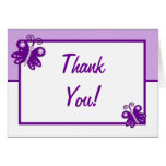Folded Thank You Card Purple Spring Time Butterfly