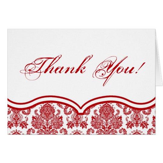 Folded Thank You Card Red Crimso White Damask Lace