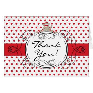 Folded Thank You Card Red Polkadot Sock Monkey Toy