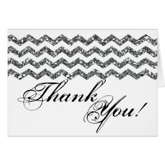 Folded Thank You Card Silve Glitter Chevron Stripe