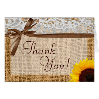 Folded Thank You Card Sunflower Lace Burlap Countr Card
