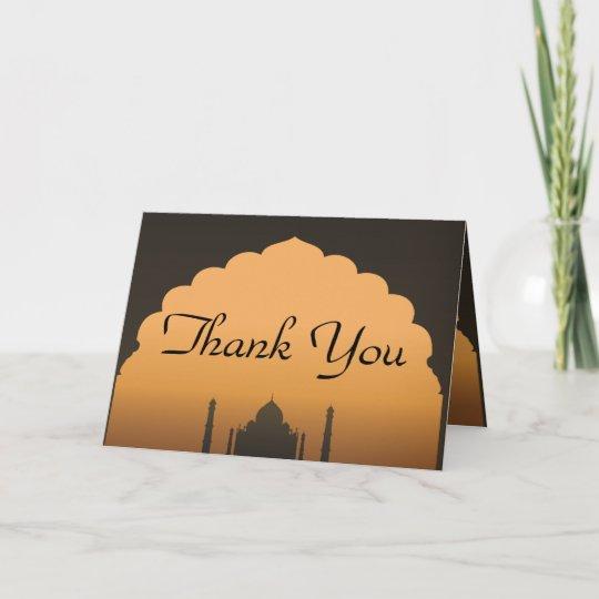 folded thank you card taj mahal sunset orange yell zazzle com