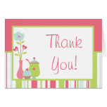 Folded Thank you Card Tea Party Pink Pastel Flower