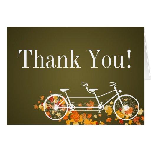 Folded Thank You Card Whimsical Brown Double Bike