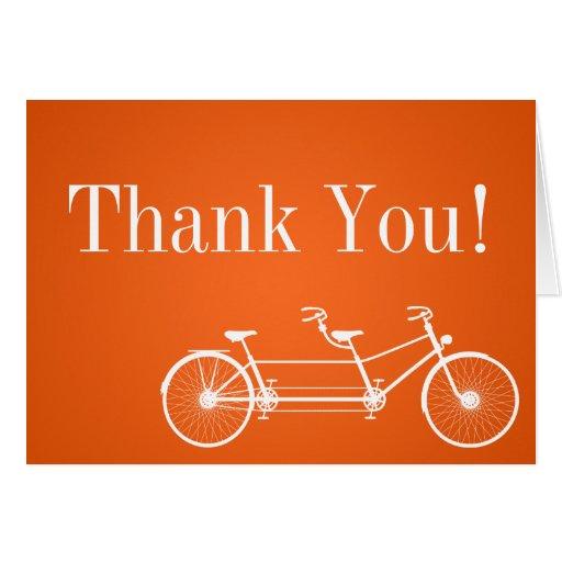 Folded Thank You Card Whimsical Orange Double Bike