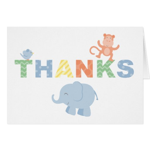 Folded Thank You Note Cards | Jungle Theme Note Card