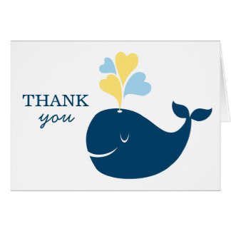 Folded Thank You Notes   Nautical Preppy Whale Stationery Note Card