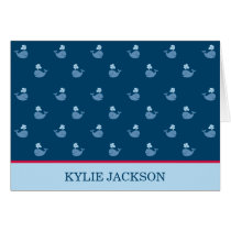 Folded Thank You Notes   Nautical Preppy Whales