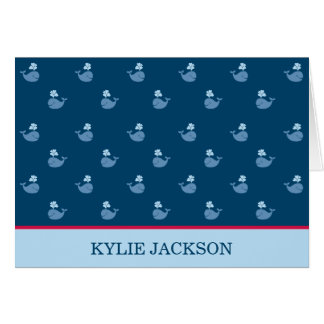 Folded Thank You Notes | Nautical Preppy Whales
