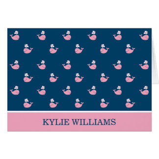 Folded Thank You Notes Nautical Preppy Whales Cards