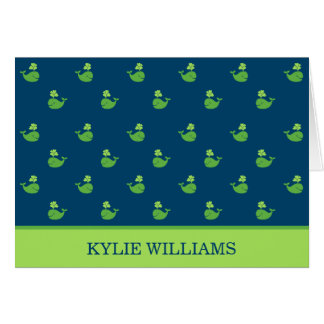Folded Thank You Notes | Nautical Preppy Whales Stationery Note Card