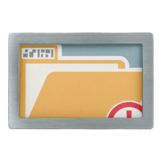 Folder Alert Unknown Attention Rectangular Belt Buckle