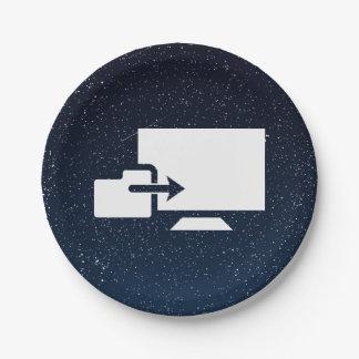 Folder Uploads Sign 7 Inch Paper Plate