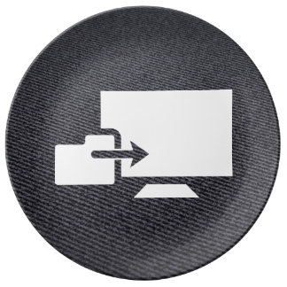 Folder Uploads Sign Porcelain Plate