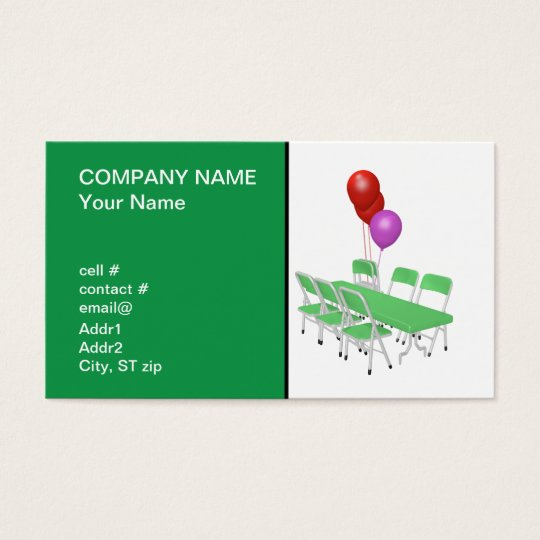 folding chair and tables with party balloons business card