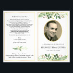 "Folding funeral pamphlet, father, memorial program flyer<br><div class=""desc"">This folding funeral program features natural greenery watercolors for an uplifting celebration of life. Designed to be printed on both sides, the front shows a favorite photograph into the gold effect oval frame. Inside can be edited with the order of service or whatever you wish. At a difficult time, this...</div>"