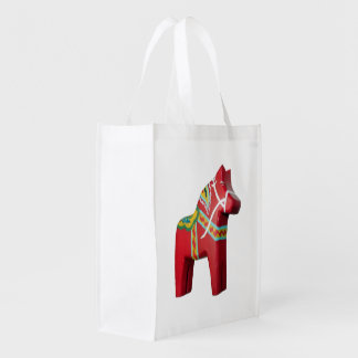 Folding Grocery Bag with Dala Horse