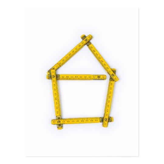 folding ruler - house shape postcard