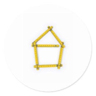 folding ruler - house shape round stickers