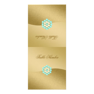 Folding Table Number in Gold, Pearls & Turquoise Rack Card Design