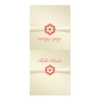 Folding Table Number in Ivory, Pearls & Ruby Gems Custom Rack Card