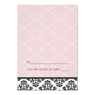 Folding Tent Pink Damask Place Cards