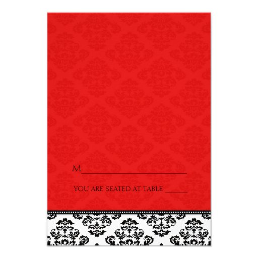Folding Tent Red Damask Place Cards Announcements