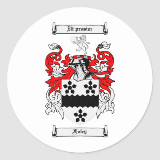 FOLEY FAMILY CREST -  FOLEY COAT OF ARMS CLASSIC ROUND STICKER