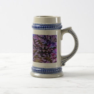 Foliage Abstract In Blue, Pink and Sienna Beer Stein