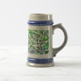 Foliage Abstract In Green and Mauve Beer Stein