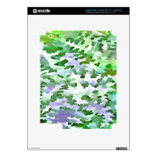 Foliage Abstract In Green and Mauve Decal For iPad 3