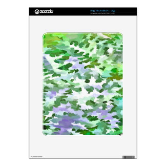Foliage Abstract In Green and Mauve Decals For The iPad