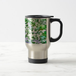 Foliage Abstract In Green and Mauve Travel Mug