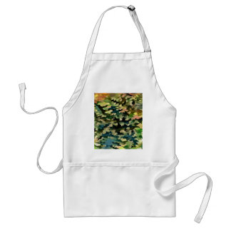 Foliage Abstract In Green, Peach and Phthalo Blue Adult Apron