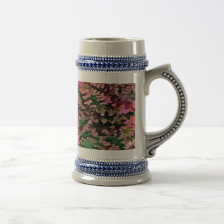 Foliage Abstract In Pink, Peach and Green Beer Stein