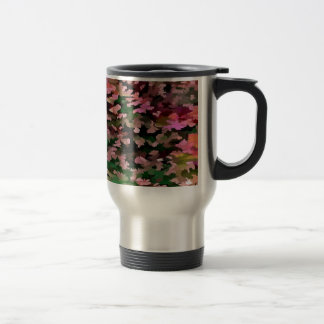 Foliage Abstract In Pink, Peach and Green Travel Mug