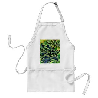Foliage Abstract Pop Art In Green and Blue Adult Apron