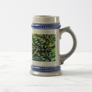Foliage Abstract Pop Art In Green and Blue Beer Stein