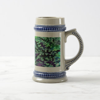 Foliage Abstract Pop Art In Jade Green and Purple. Beer Stein