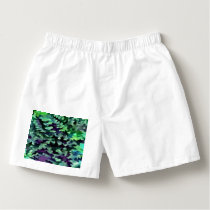 Foliage Abstract Pop Art In Jade Green and Purple. Boxers