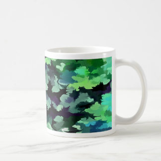 Foliage Abstract Pop Art In Jade Green and Purple. Coffee Mug