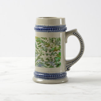 Foliage Abstract Pop Art In White Green and Powder Beer Stein