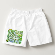 Foliage Abstract Pop Art In White Green and Powder Boxers